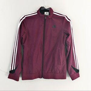 Adidas burgundy light logo zip up jacket large